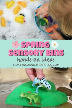 This spring sensory bin collection is perfect for toddlers and preschoolers, and builds fine motor skills! #preschool #sensory #sensorybin #finemotor #AGE3 #AGE4 #teaching2and3yearolds Sensory Bins, Sensory Activities, Hands On Activities, Infant Activities, Sensory Play, Preschool Activities, Spring Animals, Spring Books, 3 Year Olds