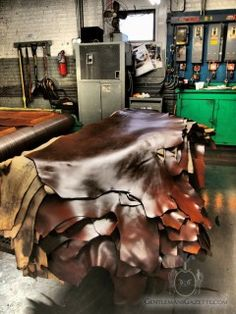 Learn all about the Horween Leather Company Chicago and join us on a company tour with Nick Horween showing us how leather is made. Leather Art, Sewing Leather, Leather Fabric, Leather Tooling, Leather Suppliers, Leather Industry, Workshop Studio, Leather Workshop, Leather Company