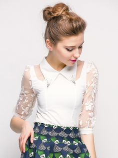 White Beaded Collar Embroidery Organza Shirt