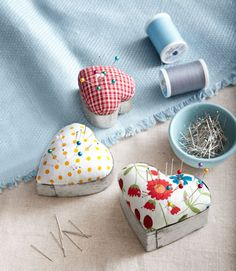 Homespun pin cushions made from cookie cutters