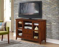 "Simpli Home Devon 54"" wide x 36"" high Tall TV Stand in Medium Mahogany Brown NEW #SimpliHome"