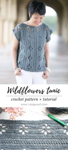 This easy lacy crochet top is made from two simple rectangles! The delicate flower pattern makes it the perfect lightweight crochet top for spring and summer. Even if your new to crocheting garments, you can make this simple top! T-shirt Au Crochet, Cardigan Au Crochet, Beau Crochet, Pull Crochet, Black Crochet Dress, Crochet Bodycon Dresses, Crochet Shirt, Crochet Woman, Freeform Crochet