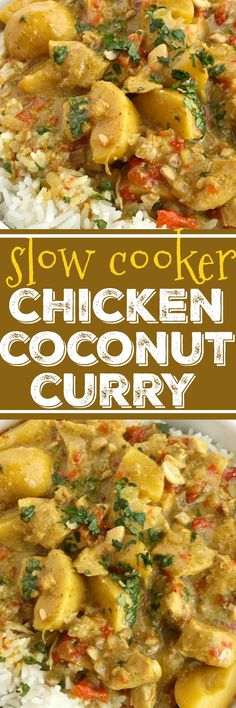 Slow Cooker Chicken Coconut Curry | Chicken Recipes | Slow Cooker Recipes | Crock Pot | Coconut Curry | #easydinnerrecipes #slowcookerrecipes #crockpot