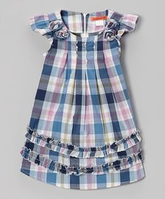 Look at this Blue Plaid Ruffle Dress - Toddler & Girls on #zulily today!