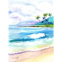 kauai art original watercolors paintings hawaiian beach seascape ocean... ($119) ❤ liked on Polyvore featuring home, home decor, wall art, beach, garden wall art, beach wall art, beach home accessories, unframed wall art and sea scape paintings