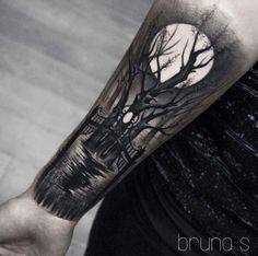 Black And Grey Tattoo Ideas For Girls Tree Sleeve Tattoo, Tree Tattoo Men, Tattoo Sleeve Designs, Forearm Tattoo Men, Tattoo Designs Men, Wolf Tattoos, Life Tattoos, Black Tattoos, Body Art Tattoos