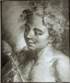 Portrait of young Bacchus in charcoal and chalk on gray-green paper. Giovanni Battista Piazzetta (1683-1754). 18th century. For sale on Proantic by Tant de l'imaginaire.