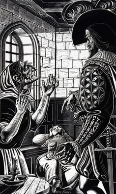 THE NOBLEMAN SAW LUCIA HUDDLED STILL AND QUIET IN HER CORNER by ERIC FRASER, pen and ink on scraperboard