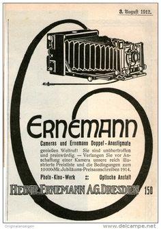 Original-Werbung/Inserat/ Anzeige 1912 - ERNEMANN CAMERAS ca. 150 X 90 mm
