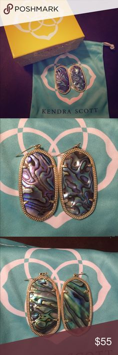 Kendra Scott abalone shell Danielle's Second picture is front. Third picture is back. Beautiful stone and can be turned around to see either side. Like new. Absolutely no tarnishing. Comes with dust bag. Kendra Scott Jewelry Earrings