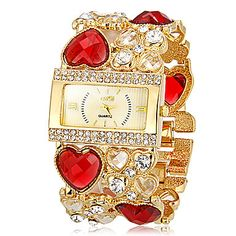 Womens Beautiful Engraving Band Bracelet Watch @ $45.00 only! https://www.wowrox.com/auctions/jewellery-watches/women-s-rectangle-dial-heart-shape-hollow-engraving-band-quartz-analog-bracelet/