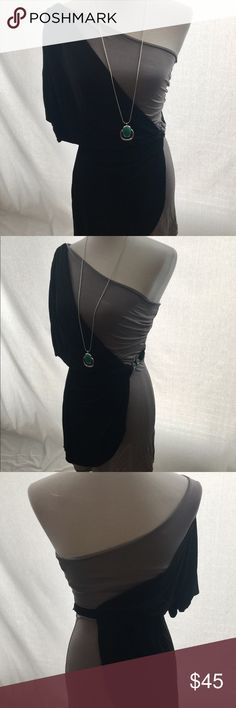 Bebe black dress, size small Perfect Grecian costume this Halloween, Bebe size small - one imperfection noted is pic of miniature diamond but so small it's unnoticeable bebe Dresses