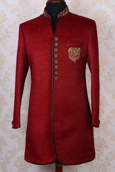 Royal red & antique goldpure jutemodish indo western sherwani-IW414 - IndoWestern Sherwani/Achkans - Sherwani - Men's Wear
