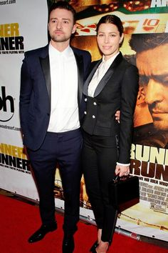 Runner Runner premiere, Las Vegas – September 18 2013  Jessica Biel wore a Dolce & Gabbana suit and carried a Mark Cross box bag to join husband Justin Timberlake - wearing Saint Laurent - at the premiere of his new film.