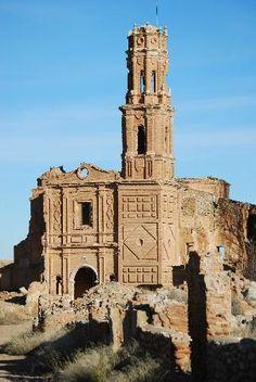 Belchite. Village bombed during the Spanish Civil war. Spain.