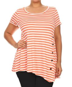 7b381b62ae775 Love this Orange Stripe Asymmetrical Top - Plus by MOA Collection on   zulily!