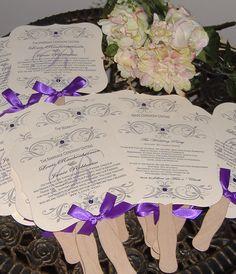 Wedding Fans, Wedding Fan Program, Wedding Program Fan, Die Cut Fan, Monogram Fan -  DEPOSIT. $25.00, via Etsy.