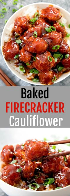 Firecracker Cauliflower Crispy baked cauliflower coated in a spicy sweet and sour sauce. Crispy baked cauliflower coated in a spicy sweet and sour firecracker sauce. Baked Cauliflower, Cauliflower Recipes, Healthy Snacks, Healthy Eating, Healthy Recipes, Spicy Vegetarian Recipes, Vegetarian Italian, Vegetarian Soup, Juice Recipes