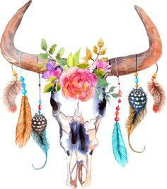 This chic bull skull dream catcher decal is perfect for any blank bedroom or dorm wall. Order this dream catcher wall decal online from My Wonderful Walls! Colorful Feathers, Skull, Drawings, Cow Skull Decor, Neck Tattoo, Painting, Art, Skull Painting