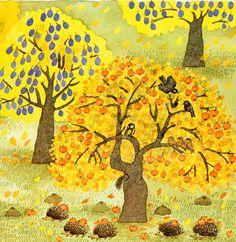 Otoño y un árbol muy hospitalario en una hermosa historia de Mira Lobe.