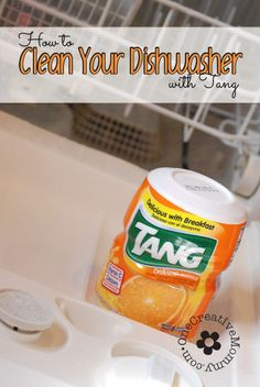Clean Your Dishwasher with Tang! Before you call an expensive repairman, try this simple method to get your dishwasher working like new again! OneCreativeMommy.com