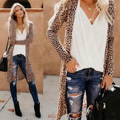 9aec15aa44e8 Women's Leopard Print Loose Open Front Kimono Shawl Long Cardigan Leopard  Cardigan Outfit, Cardigan Outfits