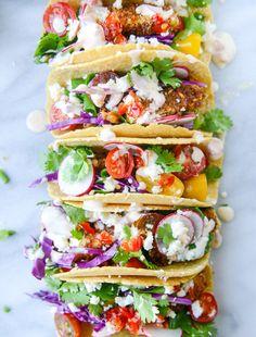 Crispy Zucchini Tacos with Cherry Pepper Crema