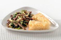 Émincé de bœuf avec tarte de risotto