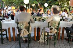 The bride and grooms decorated chairs - in a greek garden wedding Decorated Chairs, Greek Garden, Naxos Greece, Grooms, Beautiful Gardens, Garden Wedding, Destination Wedding, Weddings, Bride