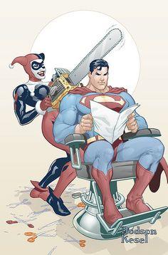 Harley Quinn trying to cut Superman's hair.