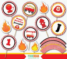 Fire Truck Birthday Cupcake Toppers by PixieBearParty on Etsy #FireTruckBirthday #FiremanParty