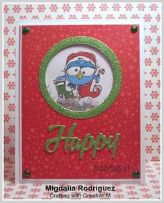Crafting with Creative M: A Christmas Shaker card using the Christmas Bird (colored version) image from Bugaboo Stamps.