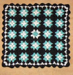 tan white light blue  Granny Square Afghan by CrochetRagRug, €29.00