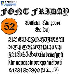 """Wilhelm Klingspor Gotisch appeared in 1925 with the Klingspor font foundry in Offenbach, Germany. Designer Rudolf Koch based his work on the Gothic forms of the 14th century and his broken letter font is often seen in advertisements. Our designers' opinion: """"The ornamental letters do not match today's legibility standards and Wilhelm Klingspor Gotisch is therefore recommended for use in headlines and short texts with a point size of 12 or larger."""" #FontFriday #Typography"""