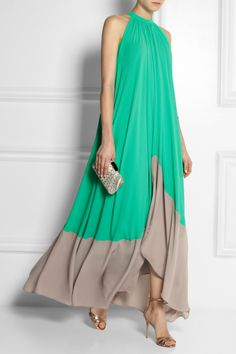 Saloni | Iris color-block georgette maxi dress