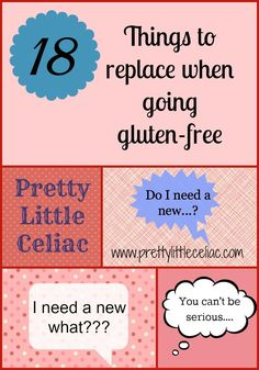 18 Things to Replace when Going Gluten-Free by Pretty Little Celiac. Pin and keep for later so you remember if you need to get new stuff! Some things I had no idea until other people told me. Gluten Free List, Gluten Free Flour, Gluten Free Cooking, Gluten Free Desserts, Vegan Gluten Free, Gluten Free Recipes, Celiac Recipes, Gluten Free Kitchen, Paleo