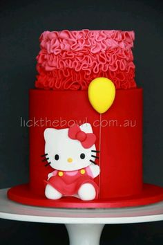 Hello Kitty on red cake Hello Kitty Birthday Cake, Hello Kitty Cake, Birthday Cake Girls, Baby Birthday, Birthday Ideas, Birthday Cakes, Little Girl Cakes, Red Cake, Character Cakes