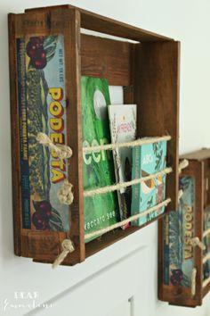 DIY Fruit Crate Bookshelves.