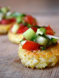 The bite-sized Quinoa Cakes with Tomato-Cucumber Salsa are a delicious appetizer for a summer meal. Substitute your own garden ingredients for the salsa topping if you'd like. Photo by Rachael Brugger