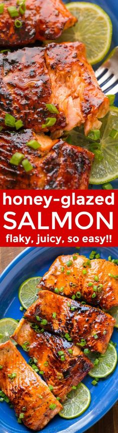 Sauteed Honey-Glazed Salmon is juicy, flaky, easy and so satisfying! Squeeze fresh lime juice over this pan fried honey glazed salmon and serve white rice. Fish Recipes, Seafood Recipes, New Recipes, Cooking Recipes, Favorite Recipes, Dinner Recipes, Skillet Recipes, Dinner Ideas, Chicken Recipes