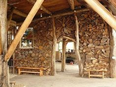 Walls of wood. Lots of great pictures from this site of other woodpile art too... '