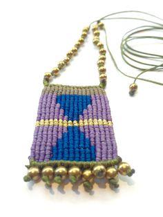 Macrame necklace, macrame jewelry, hematite macrame necklace, gold painted hematite macrame necklace, boho necklace, boho jewelry by MardijewelryStore on Etsy