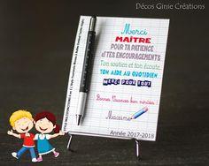 Carte Stylo et sa carte personnalisée. Cadeau maître fin d'année scolaire personnalisé multifonctions crayon règle niveau tournevis tactile