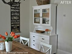 Also perfect style. Our Vintage Home antique hutch makeover Hutch Redo, Hutch Makeover, Antique Hutch, Antique Decor, Upcycled Furniture, Diy Furniture, White Hutch, Natural Stone Fireplaces, Garage Sale Finds