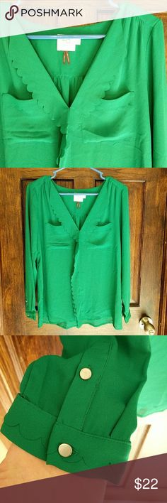HD in paris blouse This beautiful green blouse has super cute scalloped details. Made by HAD in Paris in a size 4. In great condition! Anthropologie Tops Blouses