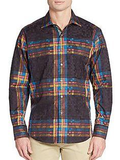 Robert Graham Classic-Fit British Isles Cotton Sportshirt - Black - Si