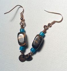 Tiger Eye and Dyed Howlite Earrings  Calming by Justatishdesigns