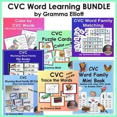 CVC Printable Activities Bundle for Word Learning at Home and School Learning Tools, Student Learning, Word Study, Word Work, Cvc Word Families, Rhyming Words, Reading Intervention, Teaching Resources, Teaching Ideas