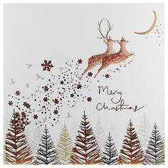 Buy Woodmansterne Deer Leaping Through The Woods Christmas Card Online at johnlewis.com