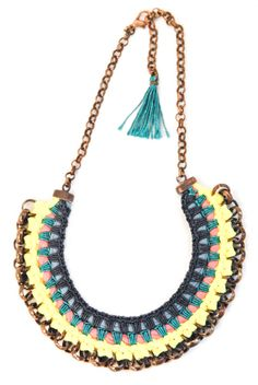 Neon Statement Necklace Tribal Bib Fabric Crochet di gudbling, €79,00